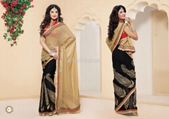 Matwali - Dazzling Black and Cream color Designer Indian Saree