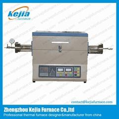 1200c split tube furnace with vacuum flange and quartz tubes