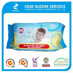 Popular 100% biodegradable OEM 80pcs comfortable touch Baby wet wipes