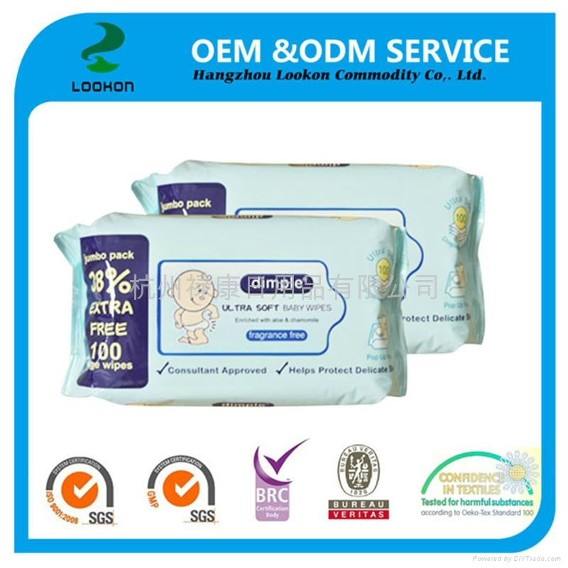 Popular 100% biodegradable OEM 80pcs comfortable touch Baby wet wipes 2