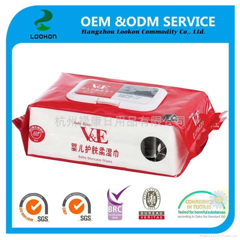 Popular 100% biodegradable OEM 80pcs comfortable touch Baby wet wipes 3
