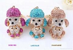 fashion cute crystaldog keychain