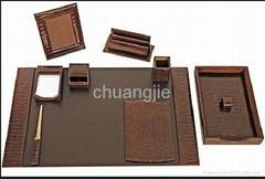 pu leather stationery desk set with 9 pcs
