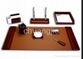 pu leather stationery desk set with 9 pcs 2