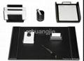 pu leather stationery desk set with 9 pcs 3