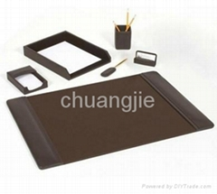 pu leather stationery desk set with 6 pcs