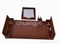 pu leather stationery desk set with 6 pcs 2