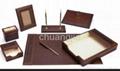 pu leather stationery desk set with 6 pcs 3