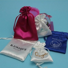 Cheap Beautiful Custom Logo Satin Jewelry Bag