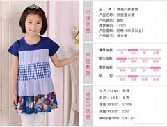 女童裙藍色系純棉拼接連衣裙