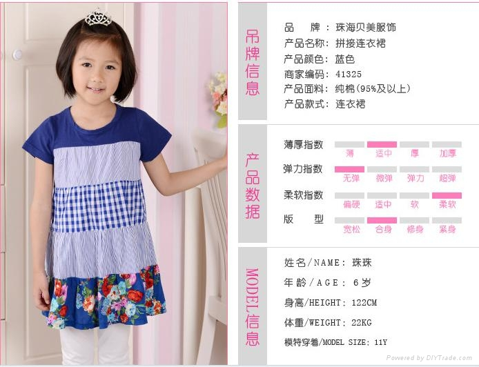 女童裙藍色系純棉拼接連衣裙  1