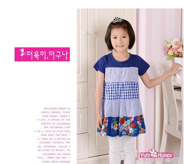女童裙藍色系純棉拼接連衣裙  2