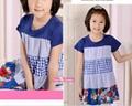 女童裙藍色系純棉拼接連衣裙  3