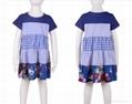 女童裙藍色系純棉拼接連衣裙  4