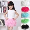 甜美六色網沙超短裙童裙