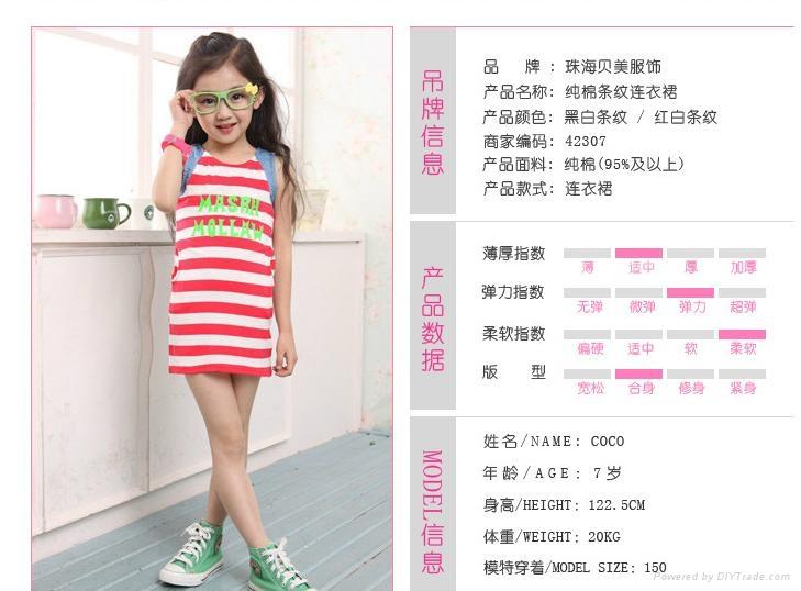 純棉字母無袖條紋連衣裙 4