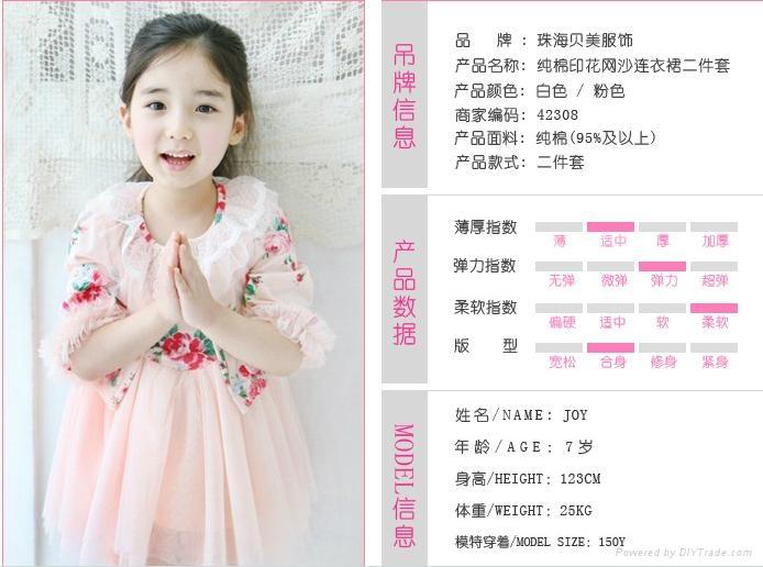 韓版純棉印花網沙連衣裙 4