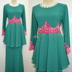 Transend chiffon design beading 2014 design baju kurung