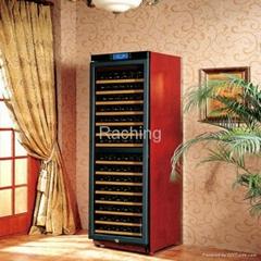 W470B Dual-zone solid wood wine cabinet modern glass display wood wine cooler ca