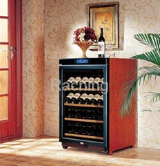 free-standing W150A 30-40 bottles wood wine glass display cabinet oak/cherry sol