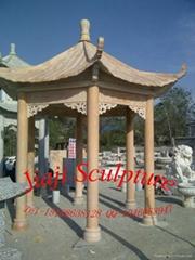 大理石中式單層六角亭