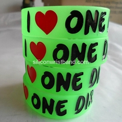 silicone rubber Wristband glow one direction bracelet