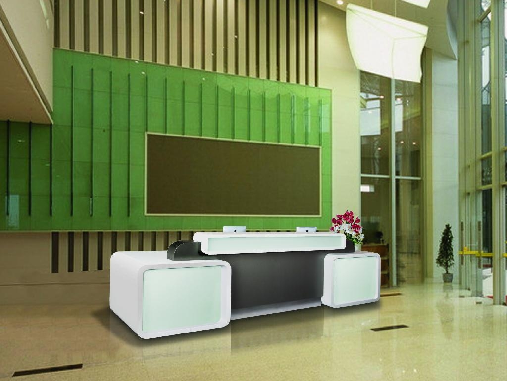 restaurant bank tanning salon glass reception desk