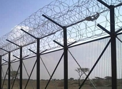 High security fencing - razor barbed wire on welded panels or chain link fence