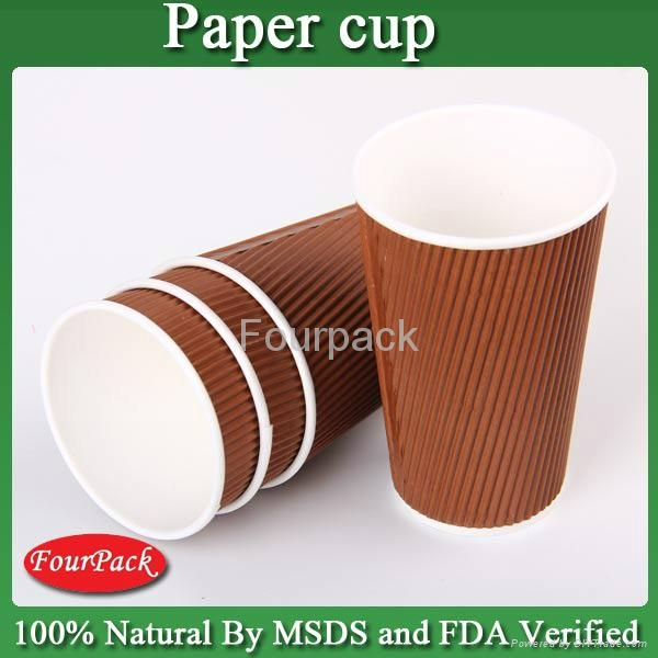 Personalized Red black brown craft pla coating ripple coffee paper cup 2