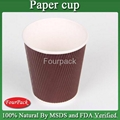Personalized Red black brown craft pla coating ripple coffee paper cup 3