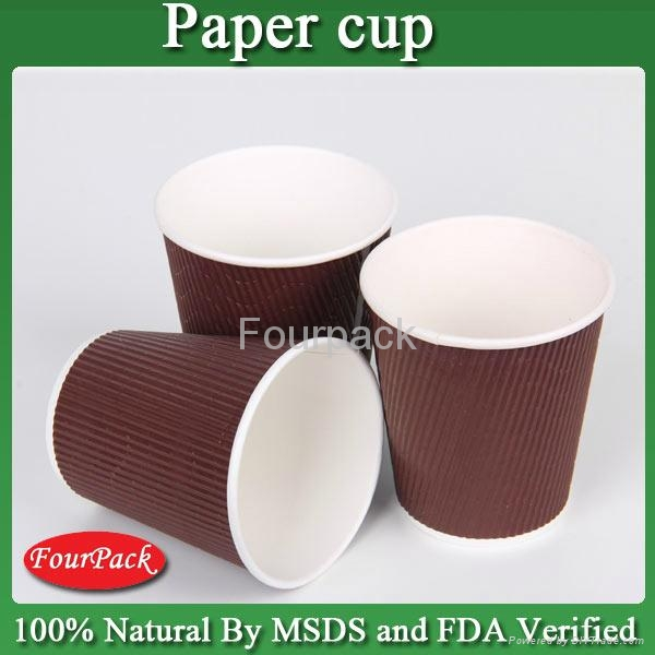 Personalized Red black brown craft pla coating ripple coffee paper cup 4