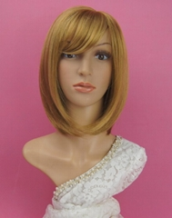 Yellow synthetic fashion BOBO wig for women