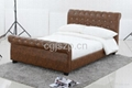 modern leather bed with crystal