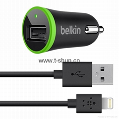 TSB1-06A Car Charger with Lightning to USB Cable ( 10 Watt/2.1 Amp )