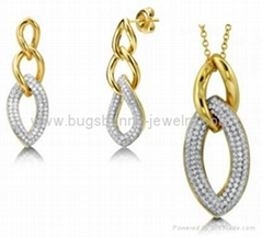 brass jewelry set si  er plated gold plated