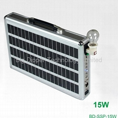 15W Ultra-Thin Portable Solar Power System with  LED Lighting