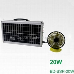 20W Ultra-Thin Portable Solar Power System with 3W LED Lighting