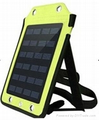 Backpack style 5W solar panel charger with strips and usb port