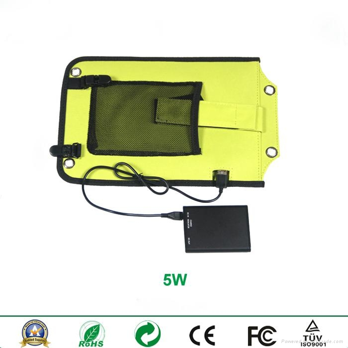 Backpack style 5W solar panel charger with strips and usb port 2