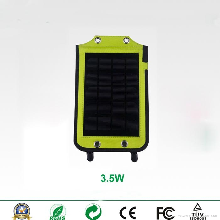 Backpack style 3.5W solar charger with strips and USB port 2