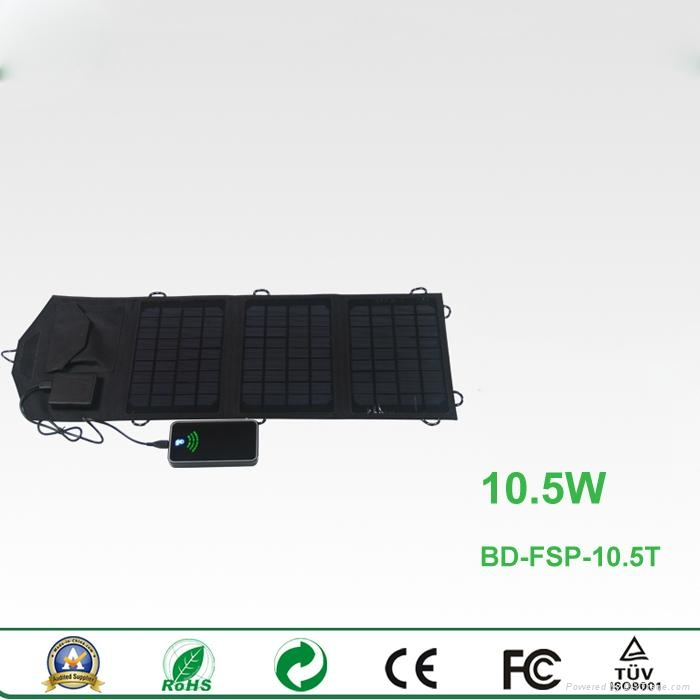 10.5W portable foldable solar charger for smartphones and smart devices 2