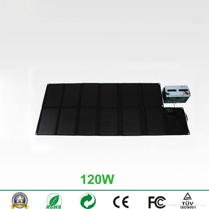 120W foldable solar charger for laptops and mobile phones 2