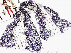 涤纶围巾 紫色花