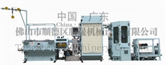 fine wire drawing machine with annealer and automatic bobbin exchanger