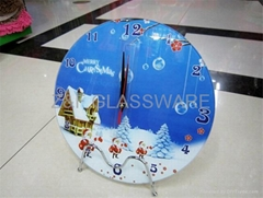 christmas print tempered galss wall clock