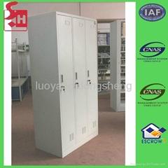 Steel three door locker office furniture metal cabinet