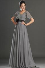 Short sleeves chiffon full length evening dresses