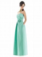 Satin sweetheart green bridesmaid dresses