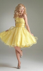 Ball gown yellow short party dresses