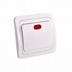european 1 gang wall  switch with light